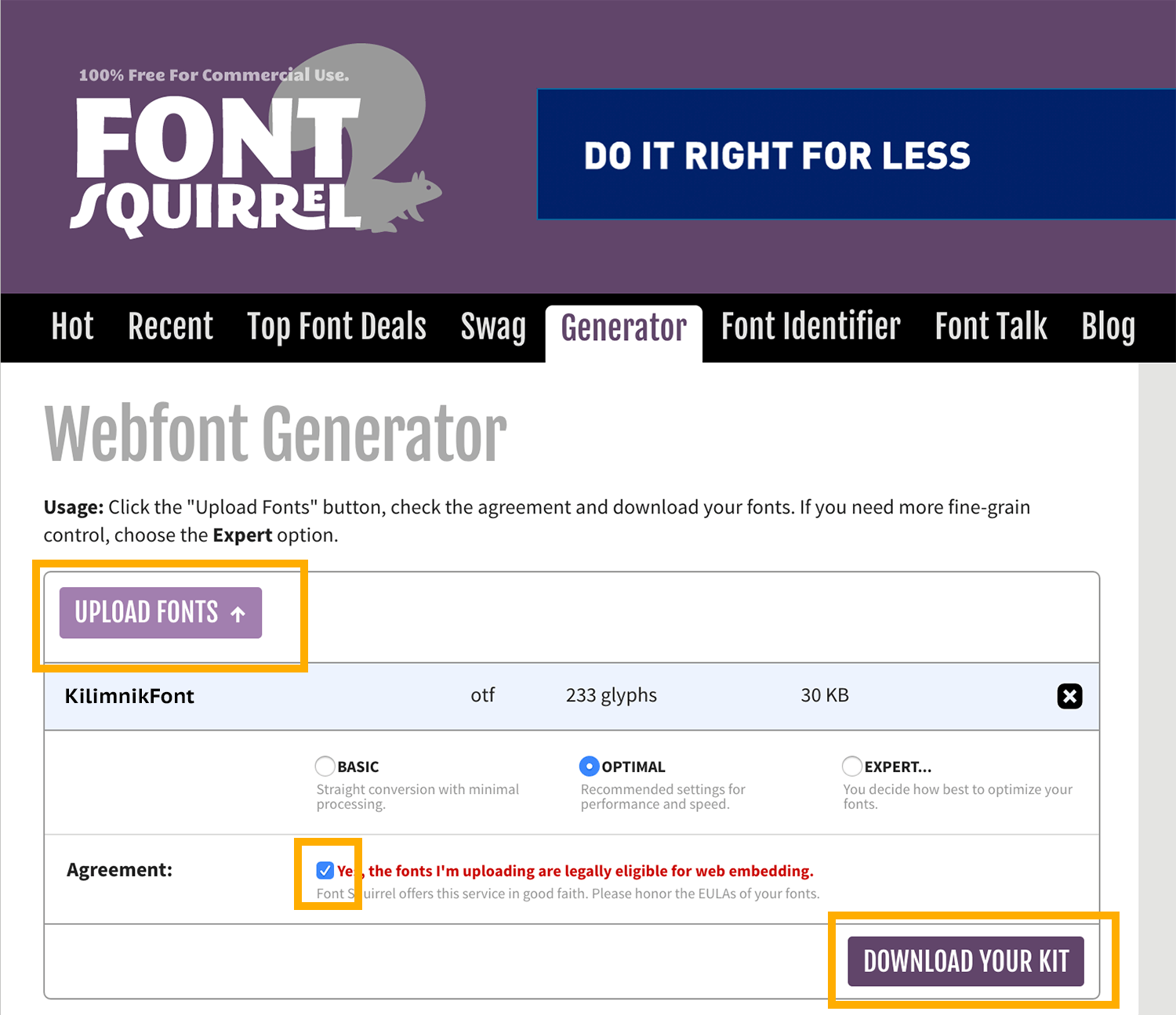 screen capture of Font Squirrel generator