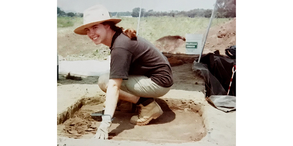 Photo of Becky at archaeology dig